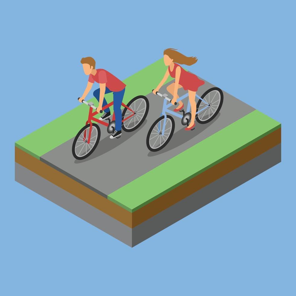 isometrisk parkaktivitet ridcykel vektor