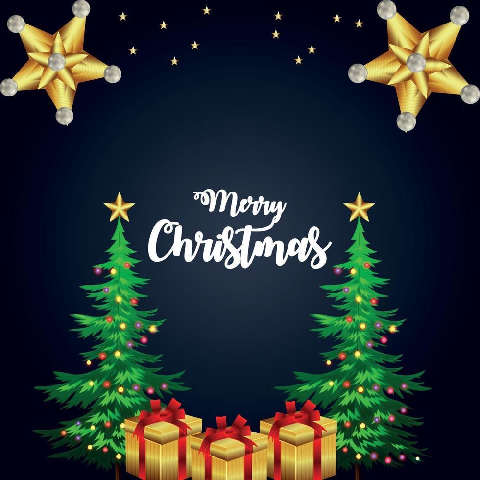god jul inbjudningskort gratulationskort med kreativa gåvor och julgran vektor