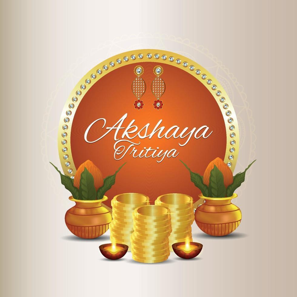 akshaya tritiya firande försäljning kampanj med guldmynt vektor