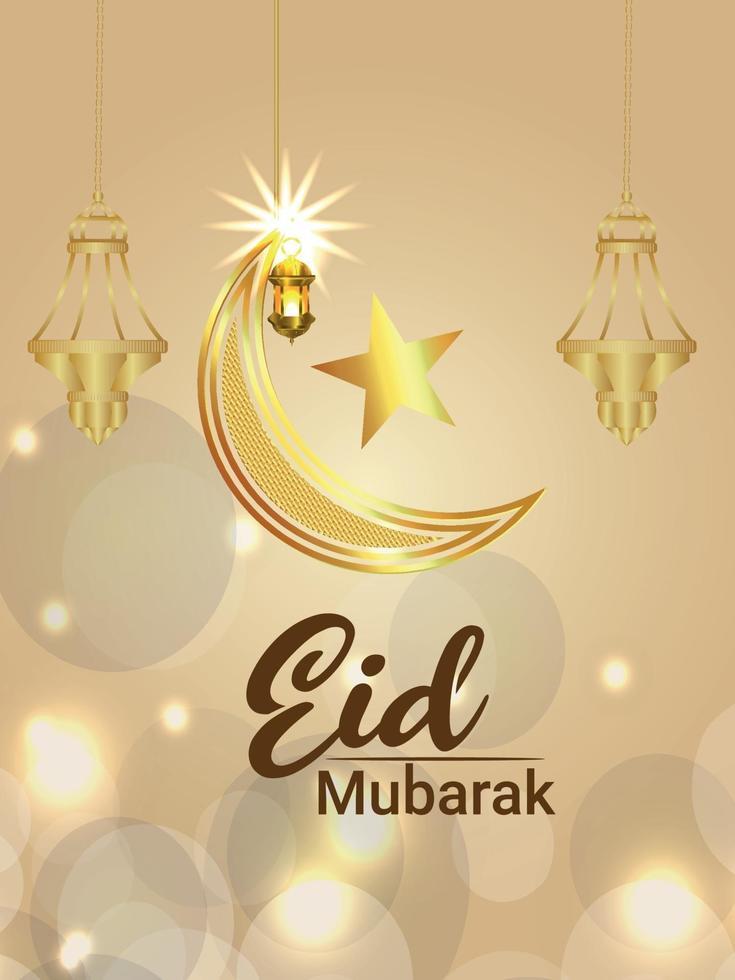 eid mubarak firande part flyer med gyllene månen och lykta vektor