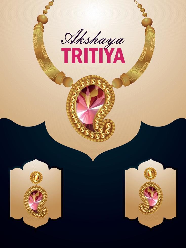 akshaya tritiya firar försäljningsreklam med vektorhalsband med örhängen och guldmyntkruka vektor