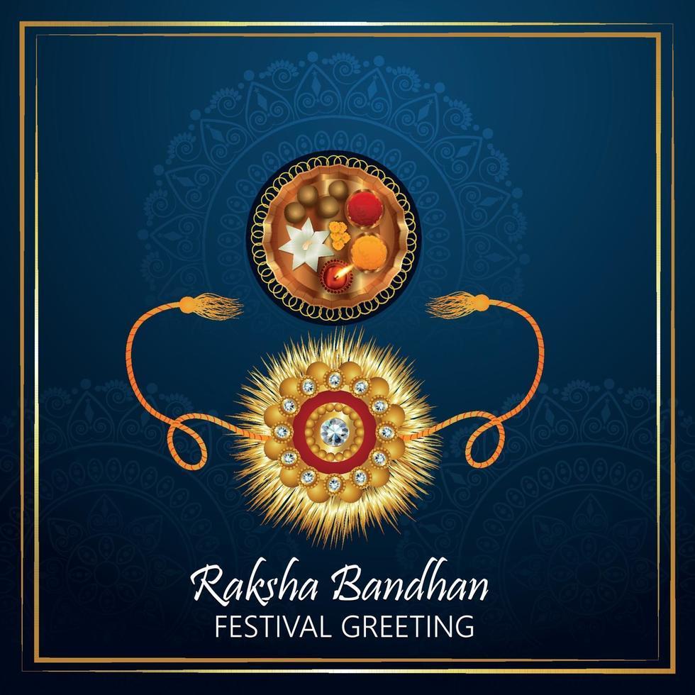 Raksha Bandhan Feier Grußkarte mit Rakhi Kristall auf blauem Hintergrund vektor