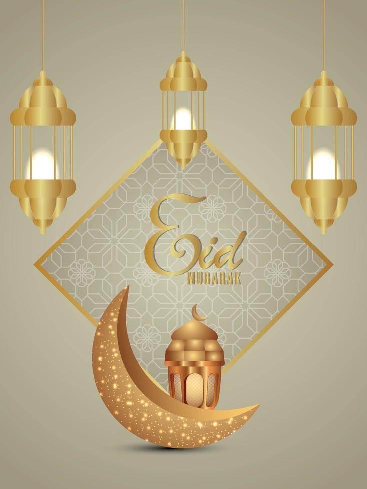 realistisk eid mubarak eller ramadan kareem bakgrund med månen och lyktor vektor