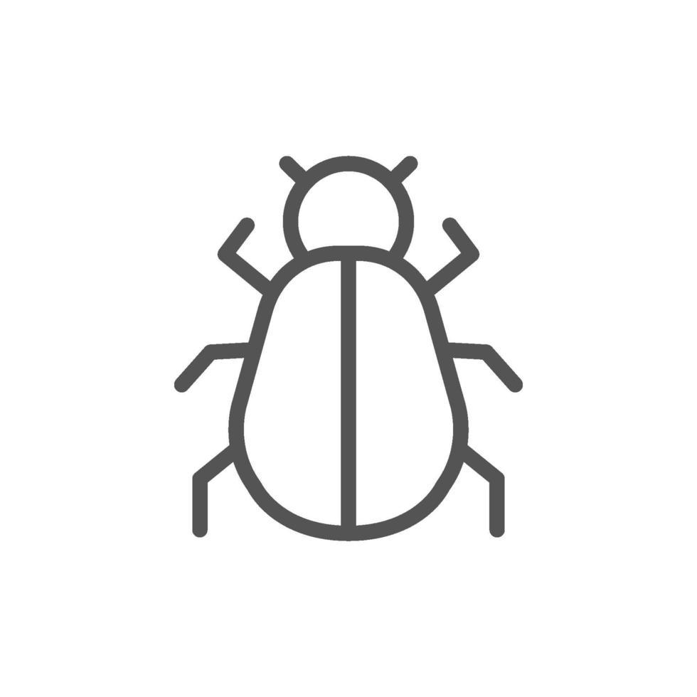 programvara bug eller program bug line art vektor ikon för mobilappar och webbplatser