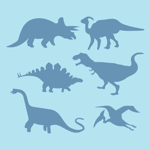 Set av Dinosaur Skuggor vektor