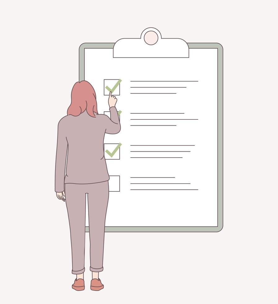 planeringsschema, gjort jobb, checklista koncept. kvinnliga anställda som markerar kompletta uppgifter i checklistan. arbetsuppgiftshantering. platt vektorillustration vektor