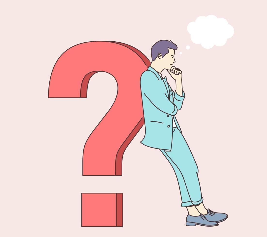 fråga, brainstorm, tänkande koncept. den unge mannen förbryllad, förvirrad, förvirrande person, funderade på problemlösning och lutade sig på frågetecknet. vektor