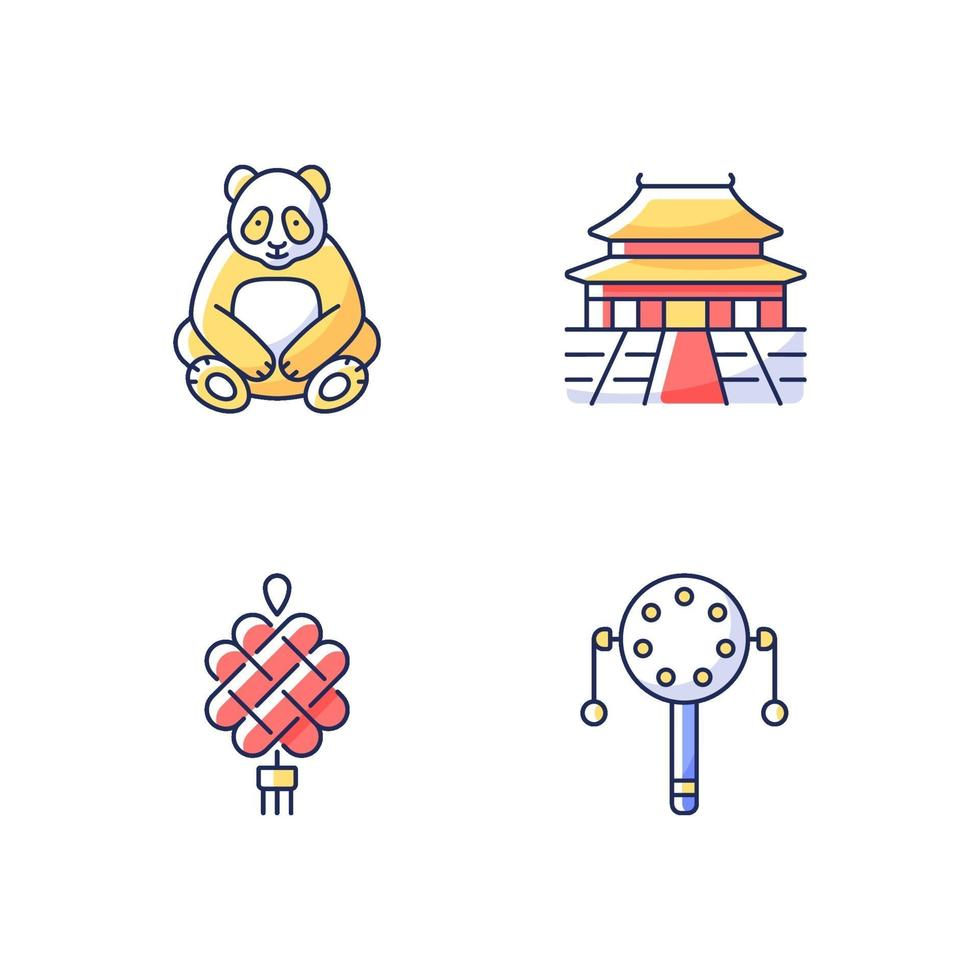 kinesisk kultur rgb färgikoner set vektor