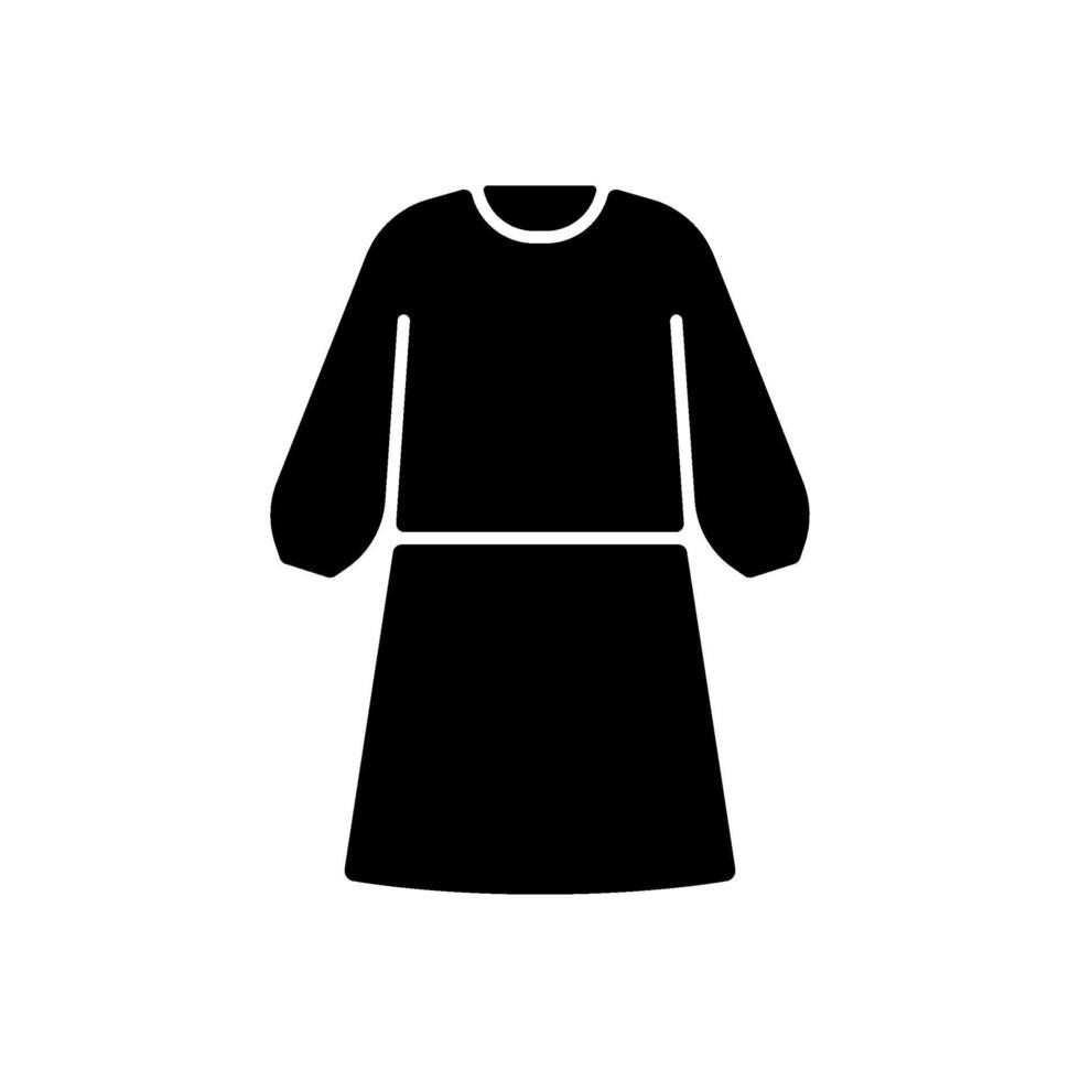 isolering klänning svart glyph ikon vektor