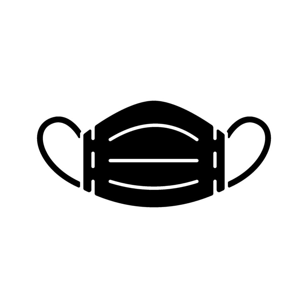 medicinsk mask svart glyph ikon vektor