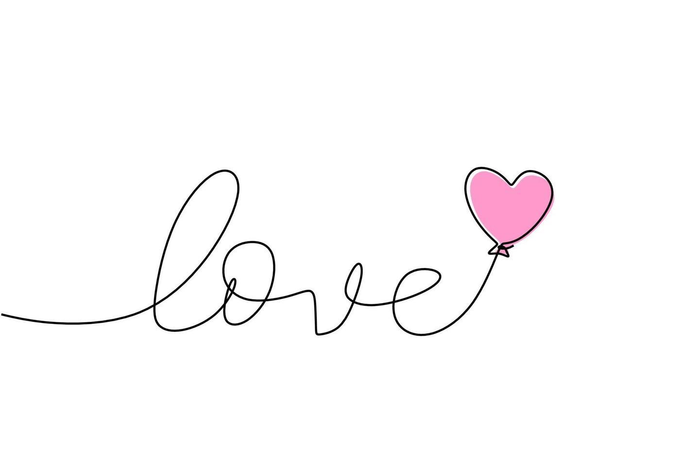 Liebe handgeschrieben eine Zeile mit rosa Ballon. Umriss schwarzer Text auf weißem Hintergrund. einzeilige Beschriftung im Kalligraphiestil. vektor