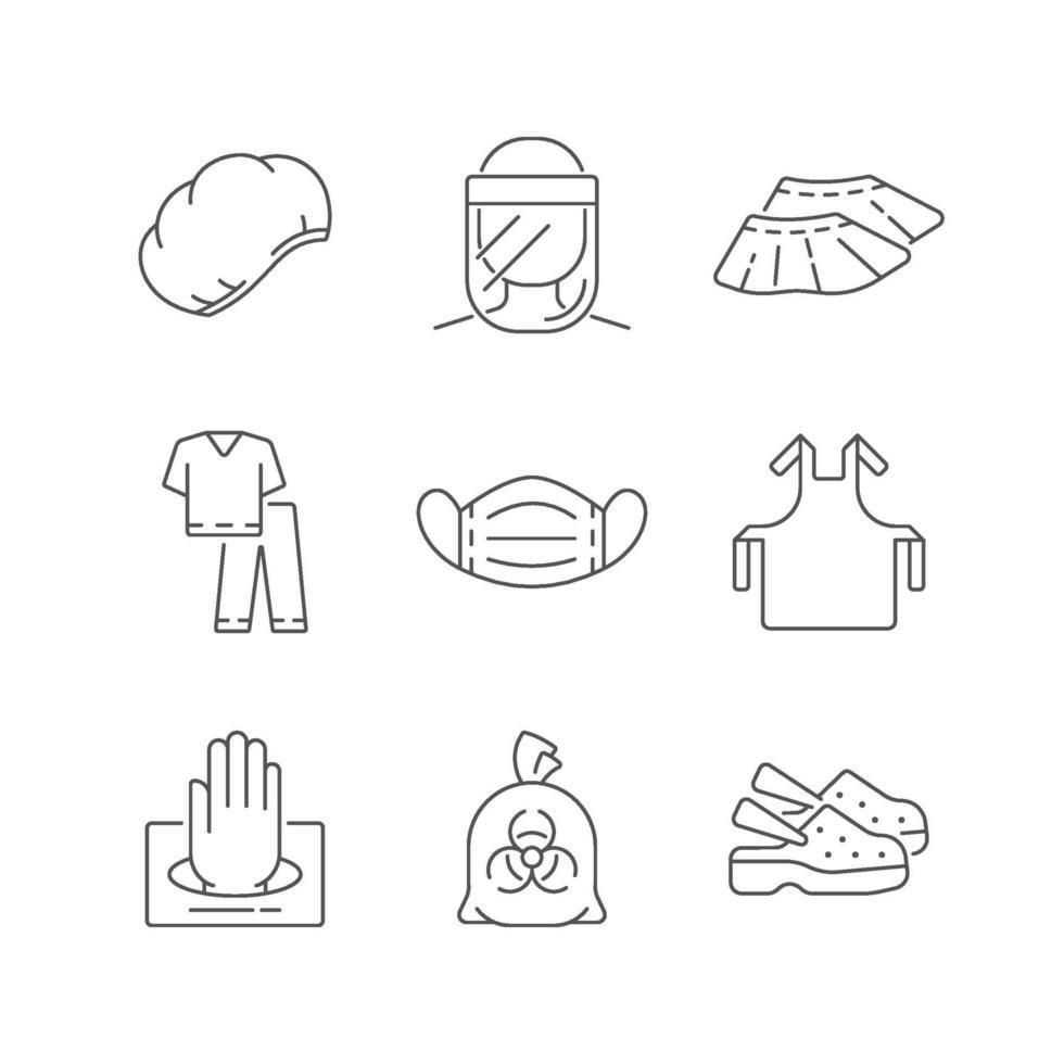 Einweg medizinische Uniform lineare Symbole gesetzt vektor