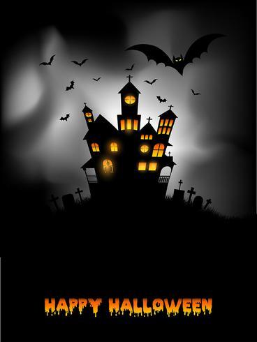 Haunted house Halloween bakgrund vektor