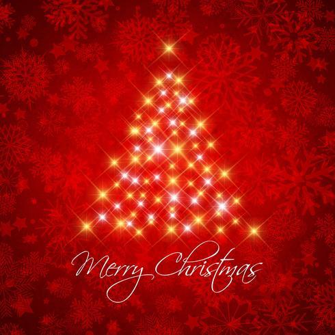 Jul bakgrund med stjärnträd vektor