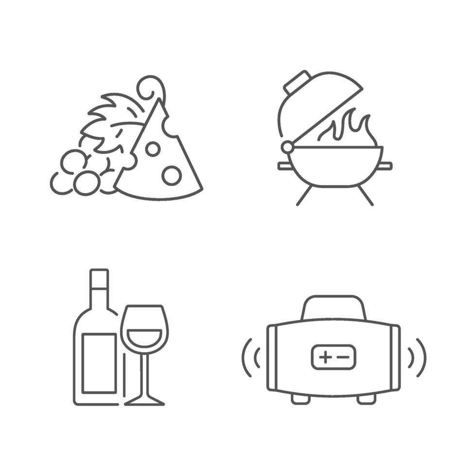utomhus matsal linjära ikoner set vektor