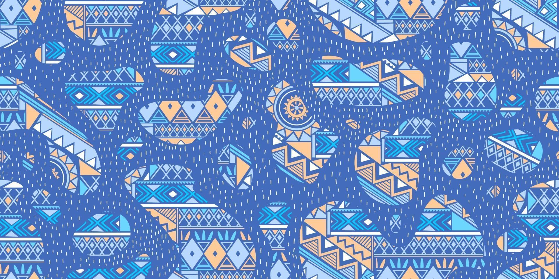 paisley sömlösa mönster med blommor i indisk stil. blommig vektor bakgrund med blå färg.