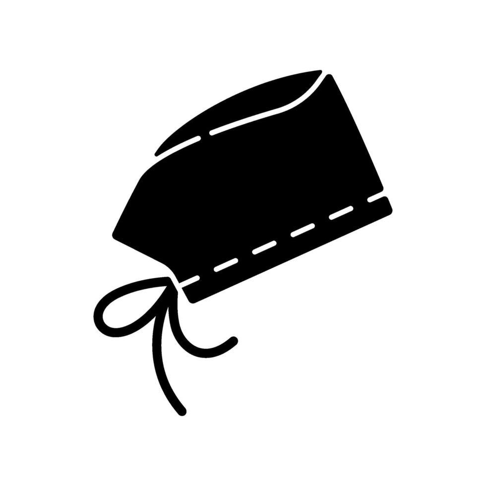 chirurgische Kappe schwarzes Glyphensymbol vektor