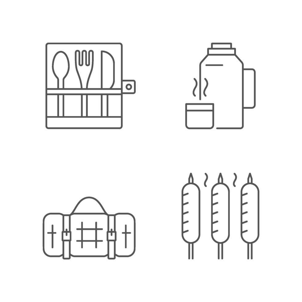 utomhus socialt samlande linjära ikoner set vektor