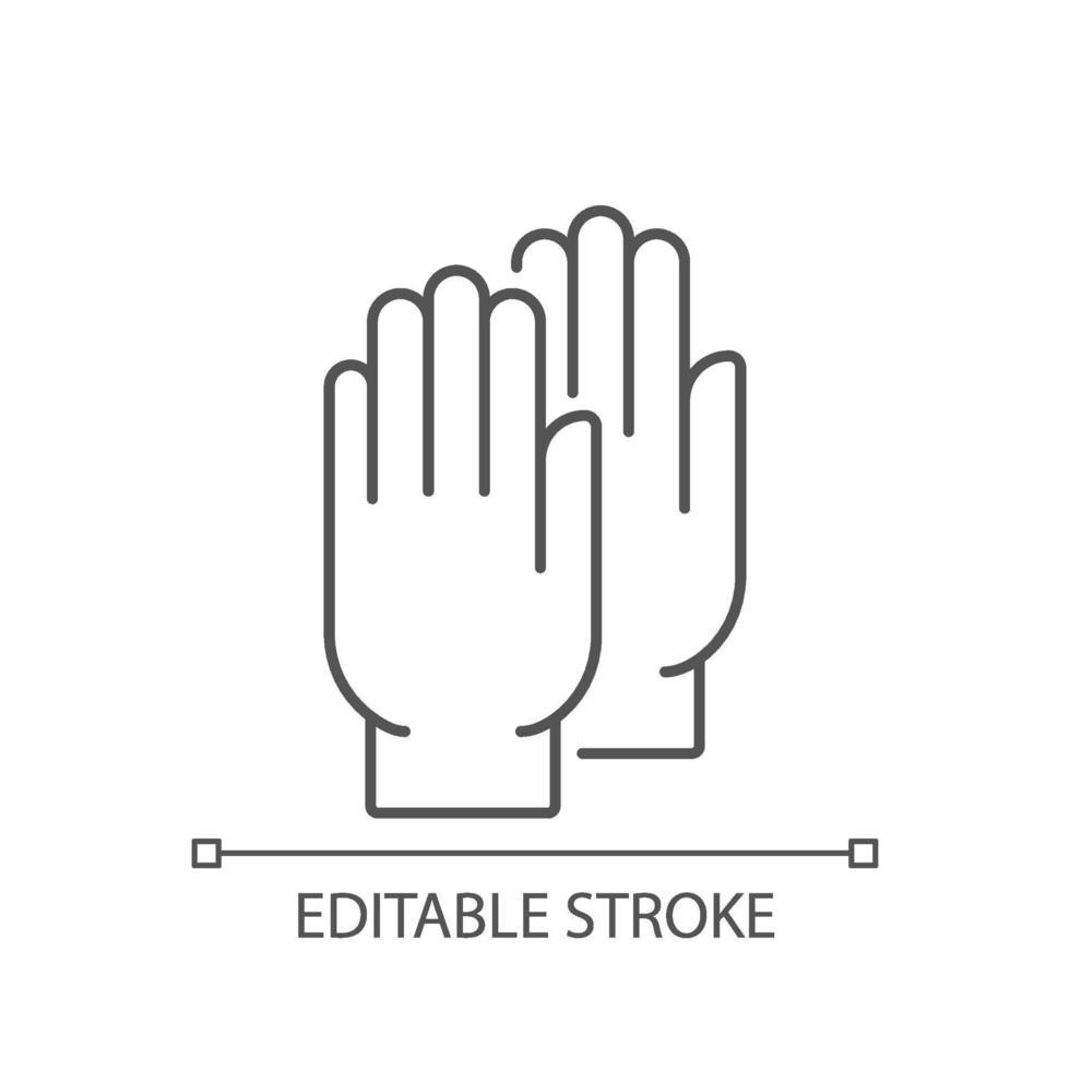 Lineares Symbol für medizinische Handschuhe vektor