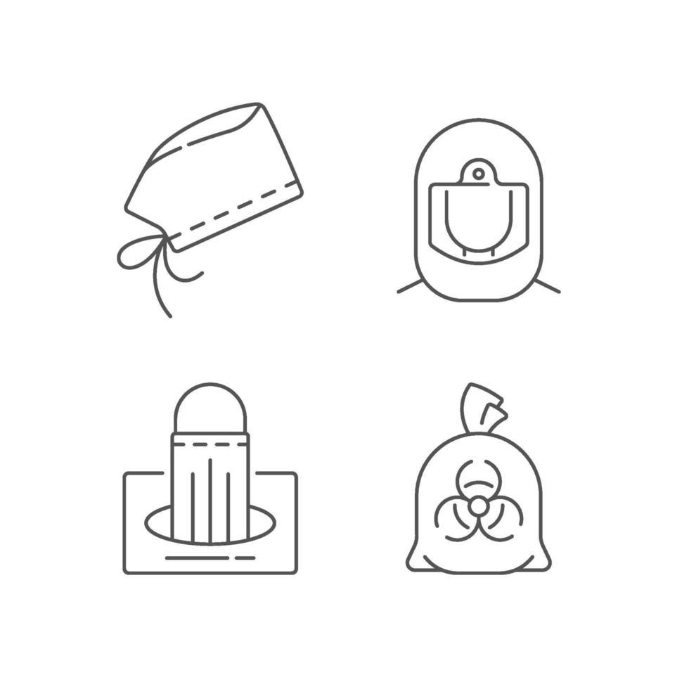 persönliche Schutzausrüstung lineare Symbole gesetzt vektor