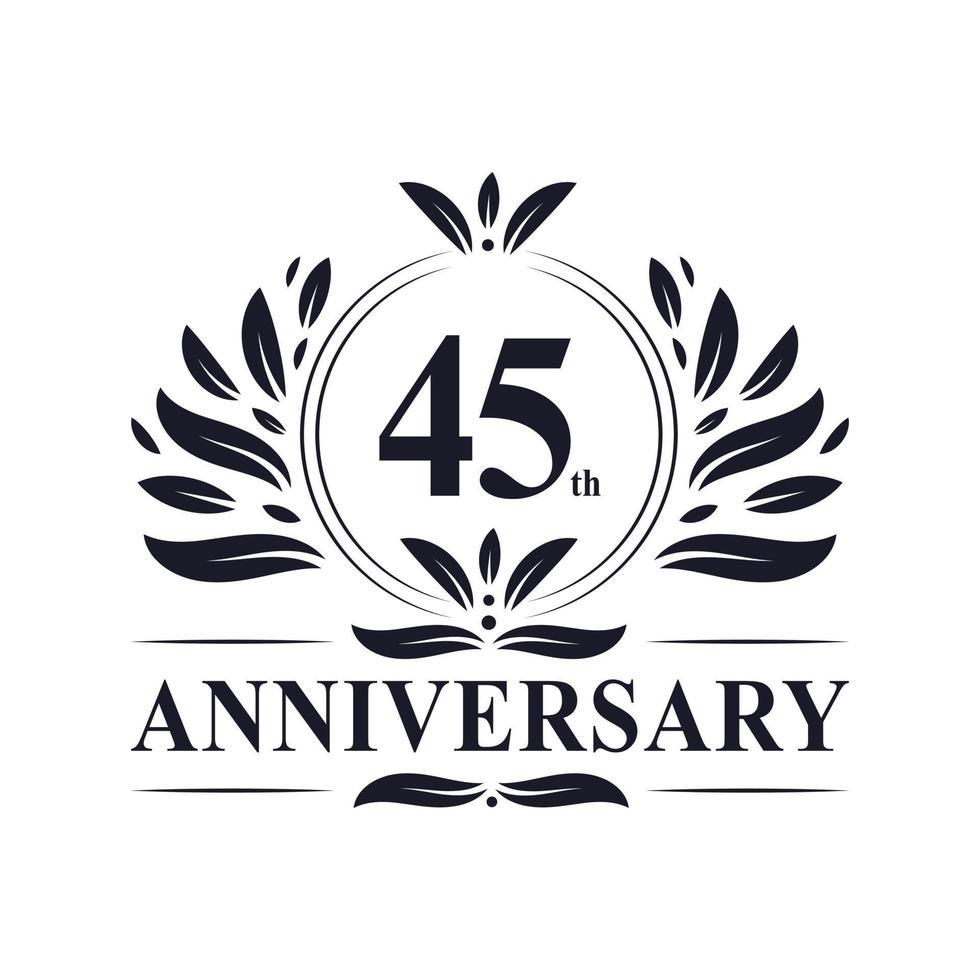 45-årsjubileum, lyxig 45-årsjubileumsdesign. vektor