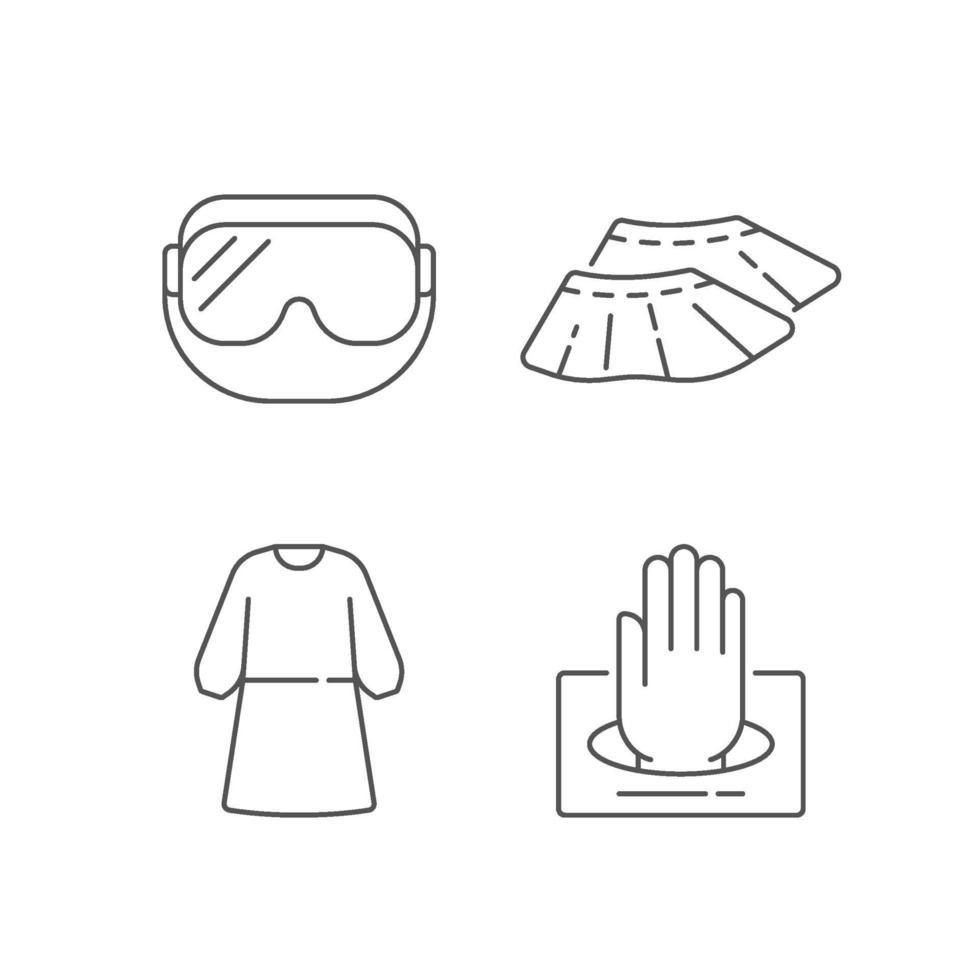 Lineare Symbole für medizinische Einwegartikel vektor