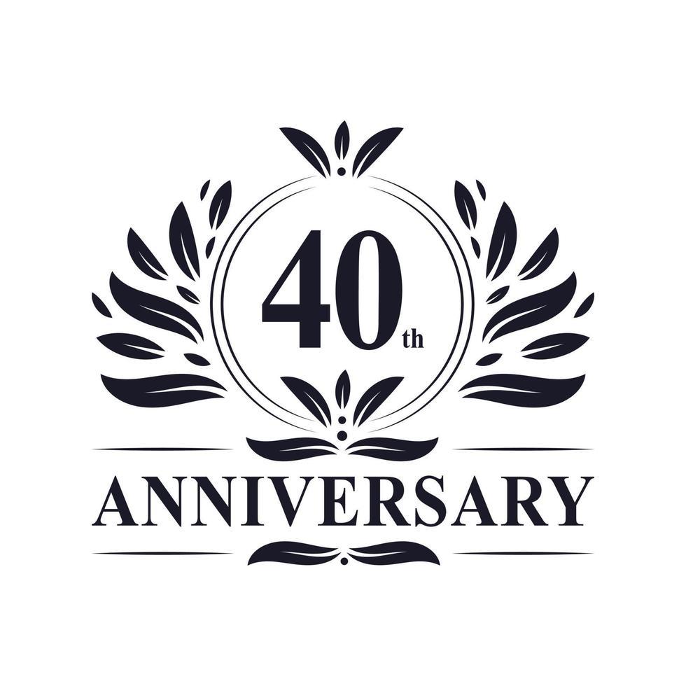 40-årsjubileum, lyxig 40-årsjubileumsdesign. vektor