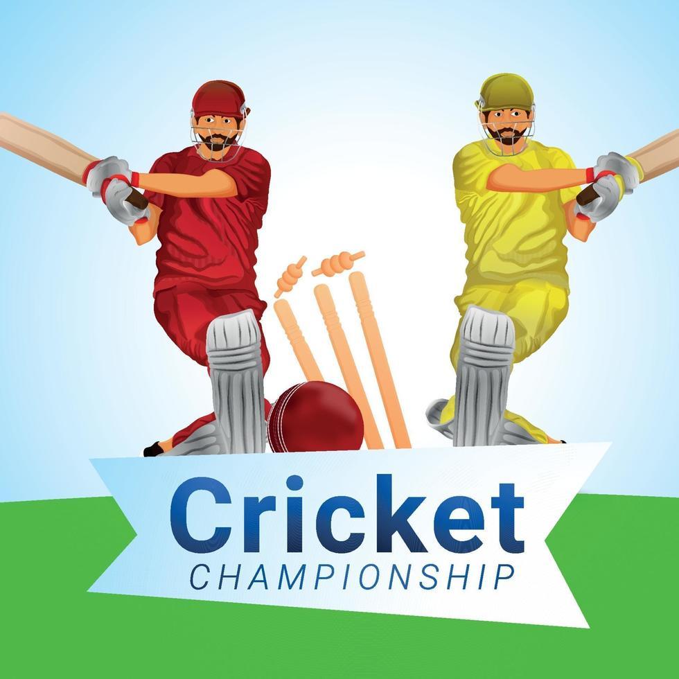 Cricket-Meisterschaftsturnier mit Vektorillustration von Cricket- und Cricketausrüstung vektor