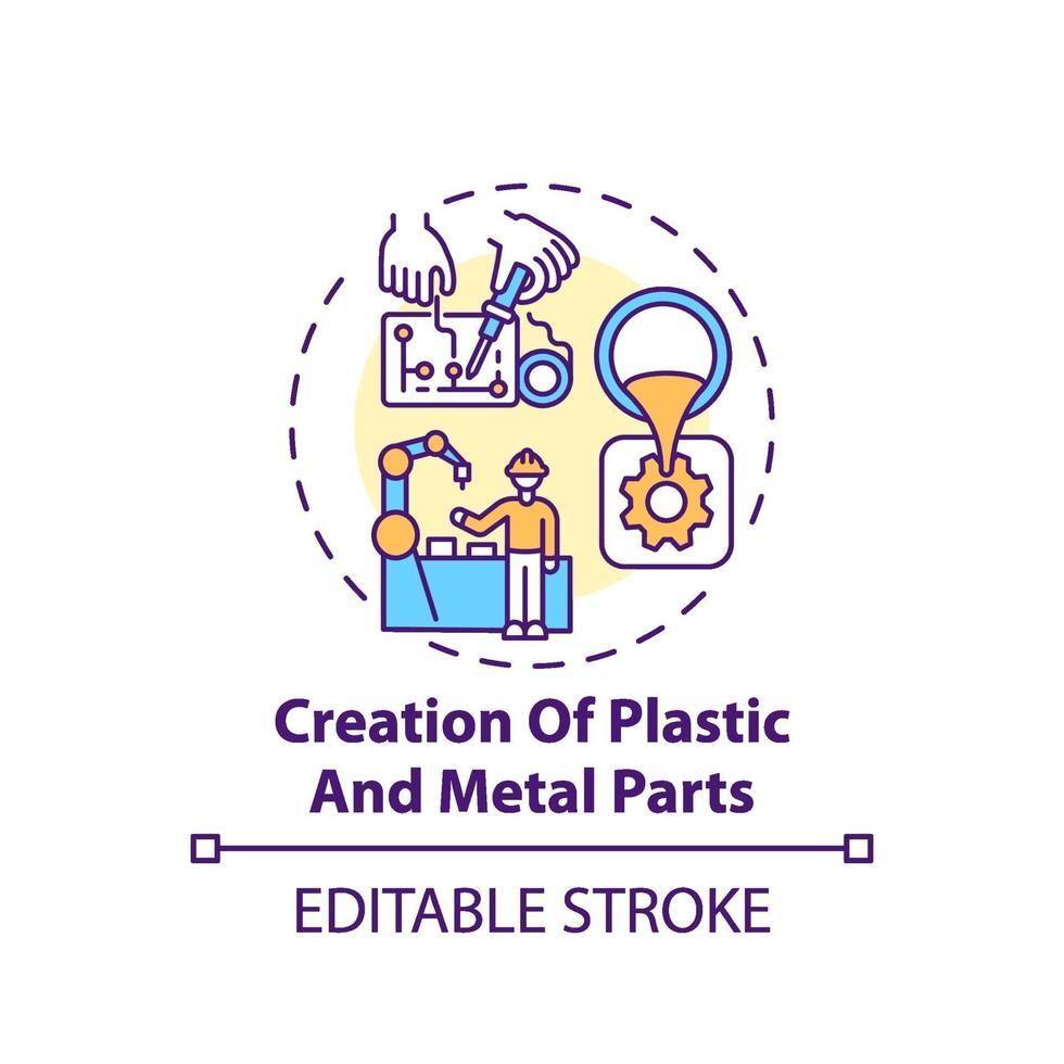 Konzeptikone für die Erstellung von Kunststoff- und Metallteilen vektor