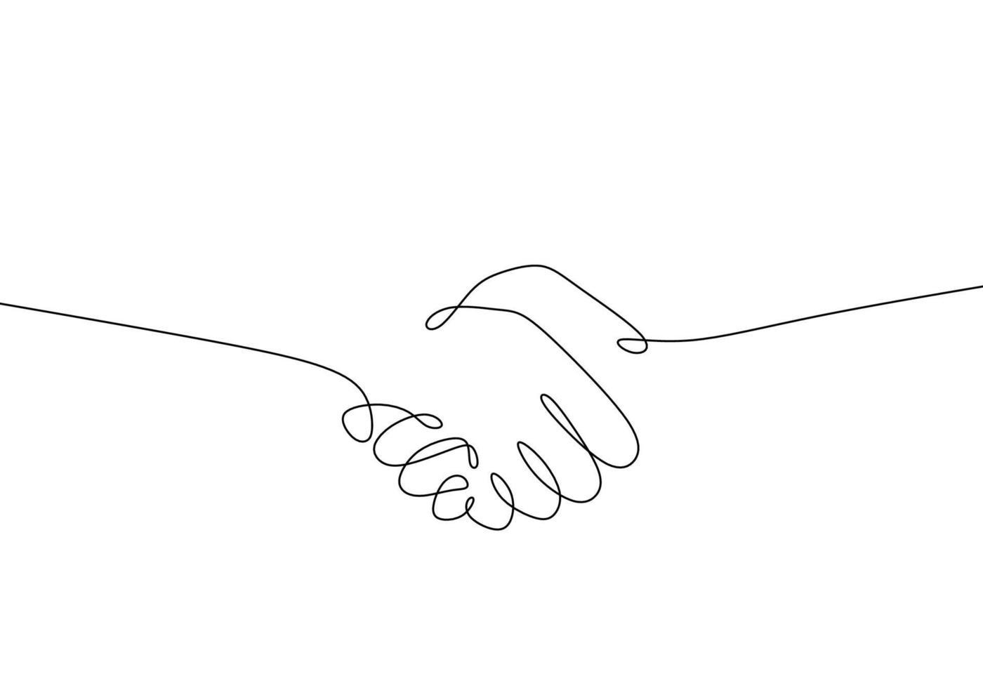 kontinuierliche einzeilige Zeichnung des Handshake-Symbols vektor
