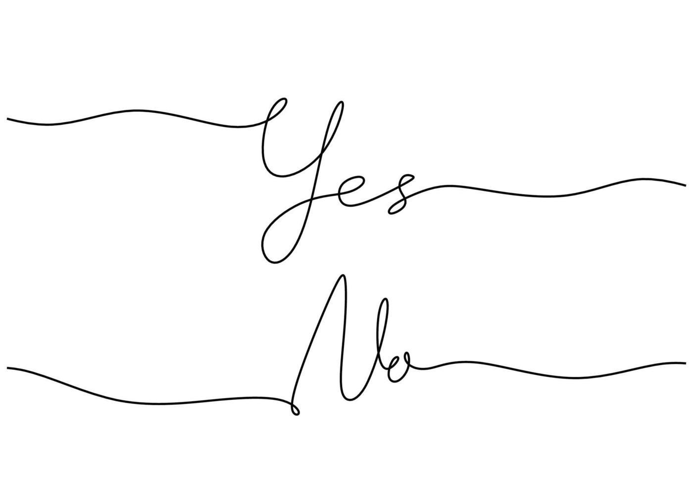 handgeschrieben ja nein wort eine zeile. handgezeichnete Schrift. Kalligraphie. eine Strichzeichnung der Phrase. kontinuierliche schwarze Strichzeichnung ja nein Wort. minimalistisches Wortkonzept. vektor