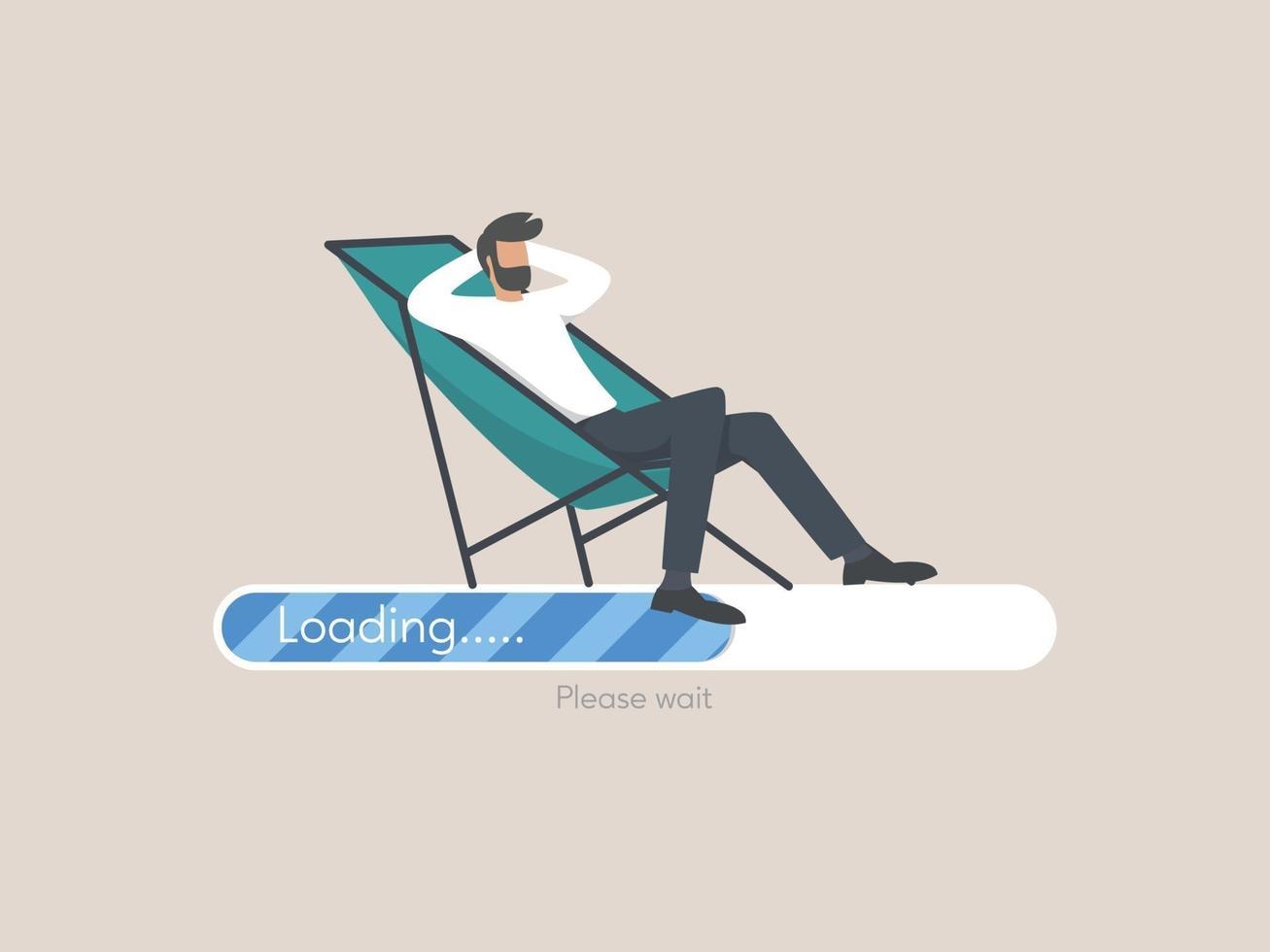 fil uppladdningskoncept, ung man karaktär väntar i stol på ett framstegsfält vektor