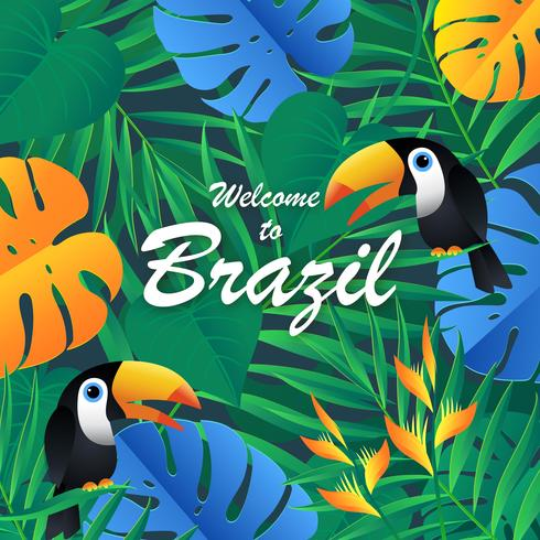 Tropisk exotisk Brasilien bakgrund vektor