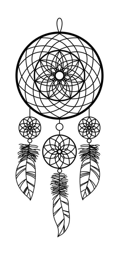isolerad bild av en drömfångare på en vit bakgrund vektor