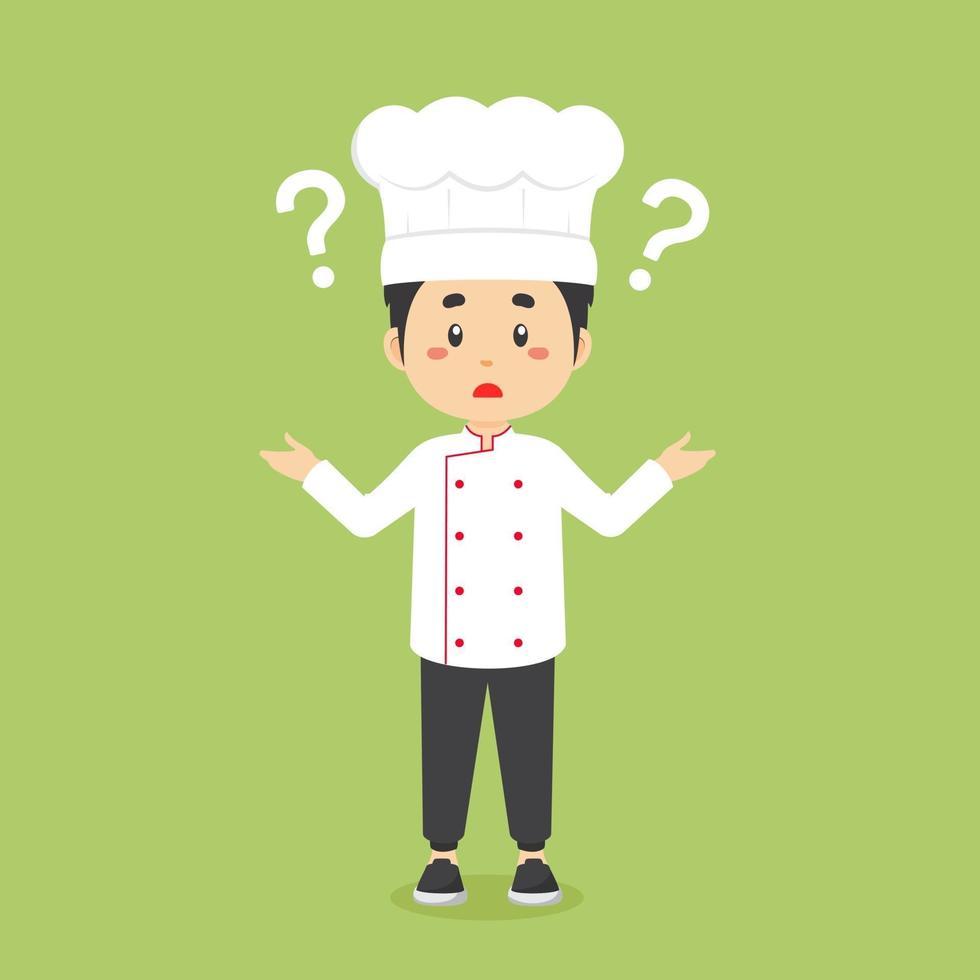 förvirrad kock med frågetecken vektor