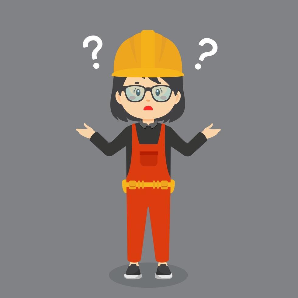 förvirrad byggnadsarbetare med frågetecken vektor