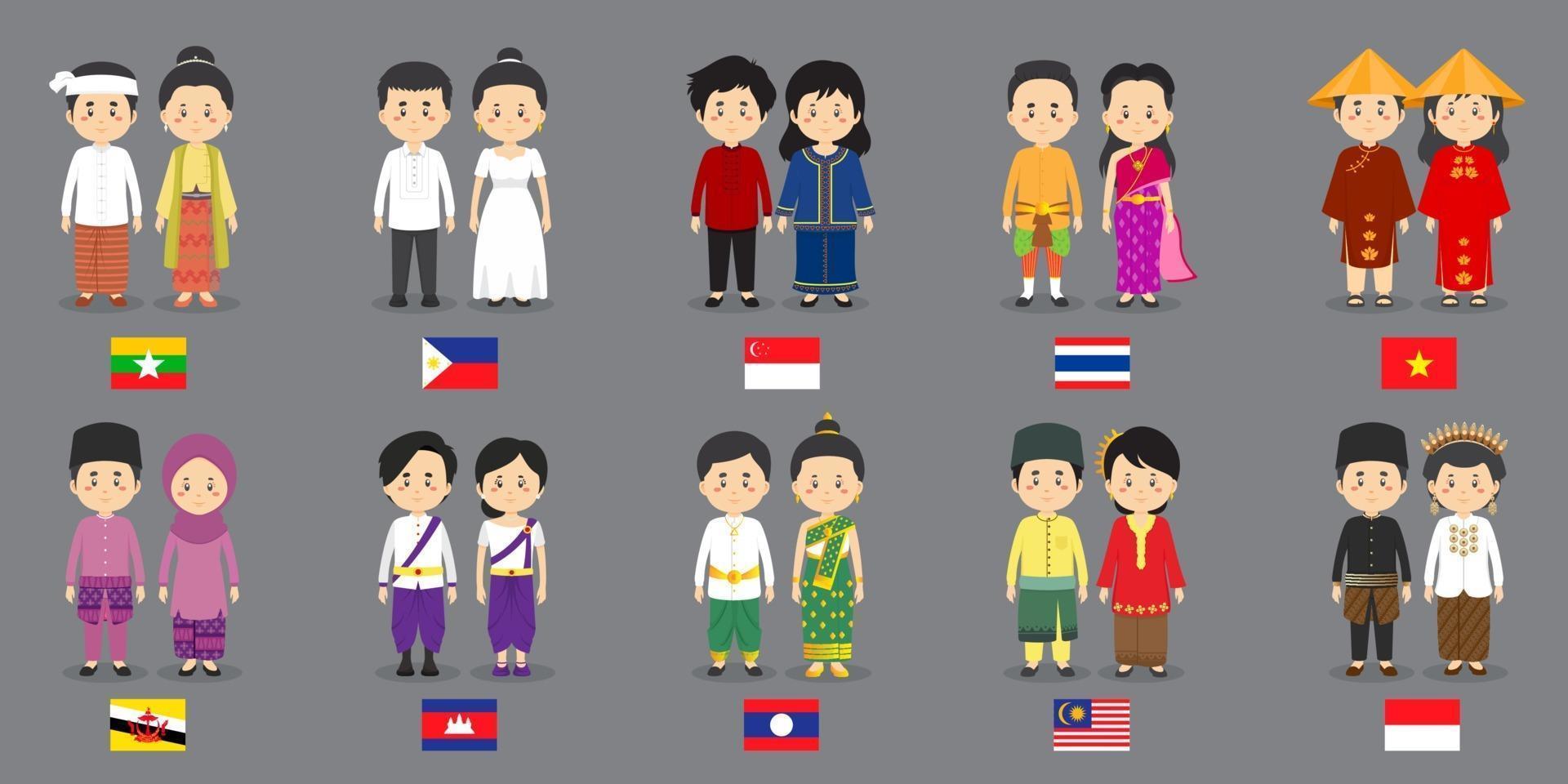 sätta asiatiska karaktärer med traditionella klänningar vektor
