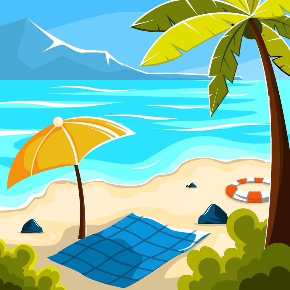 semester på stranden illustrationer vektor