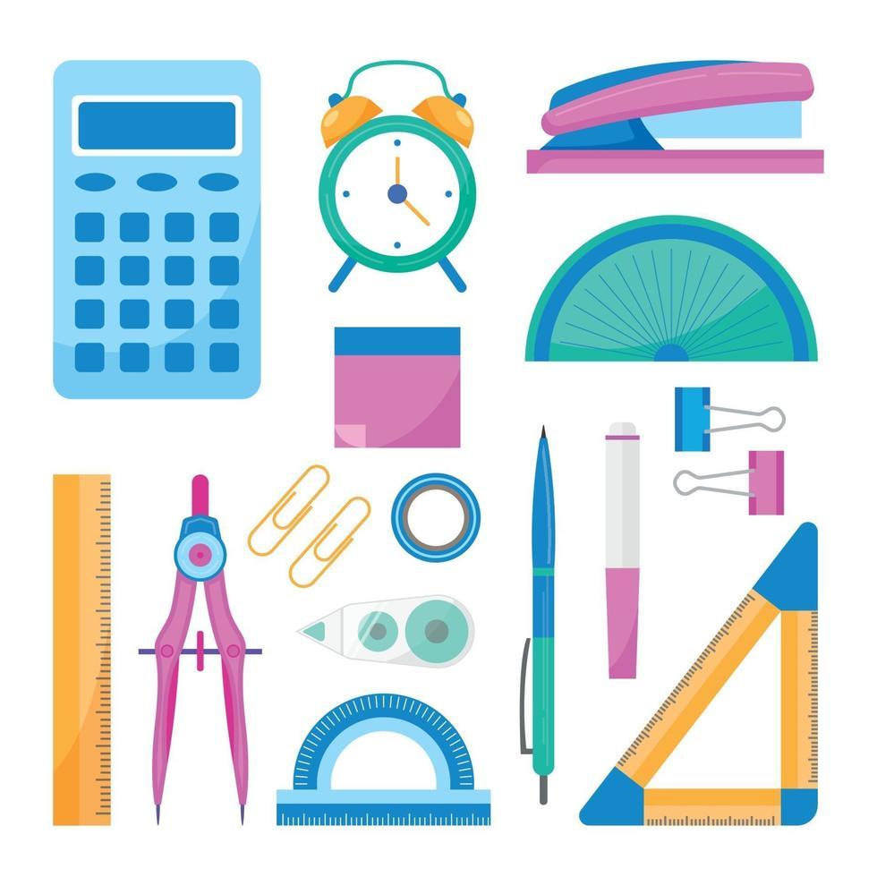 platt design skola stationär ikonsamling vektor