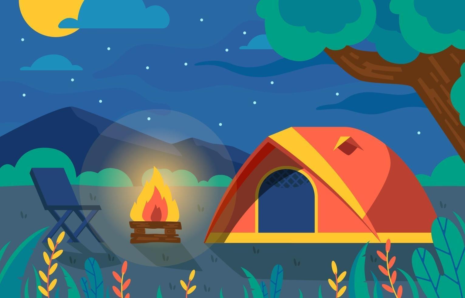 vacker utsikt för camping kul vektor