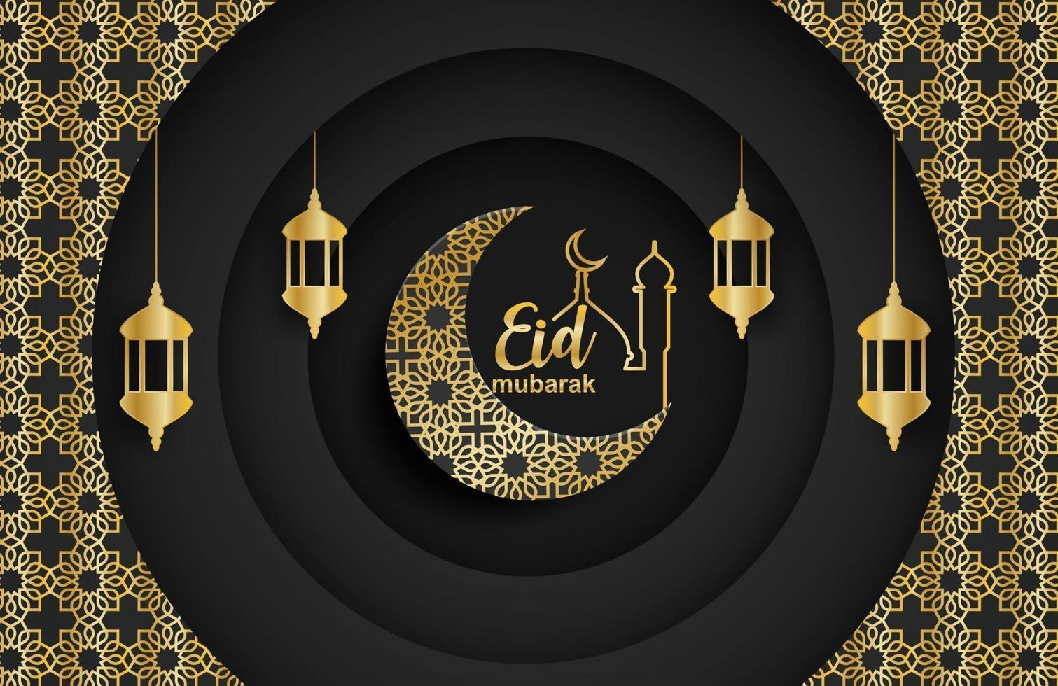 eid mubarak, ramadan mubarak bakgrund. design med månen, guldlykta på svart bakgrund. vektor. vektor