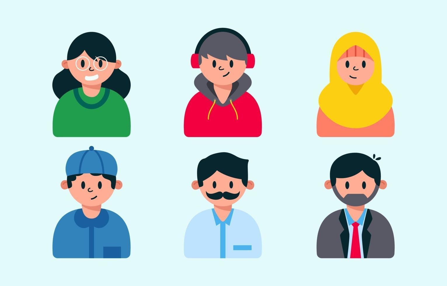 folks allmänna avatarsamlingsuppsättning vektor
