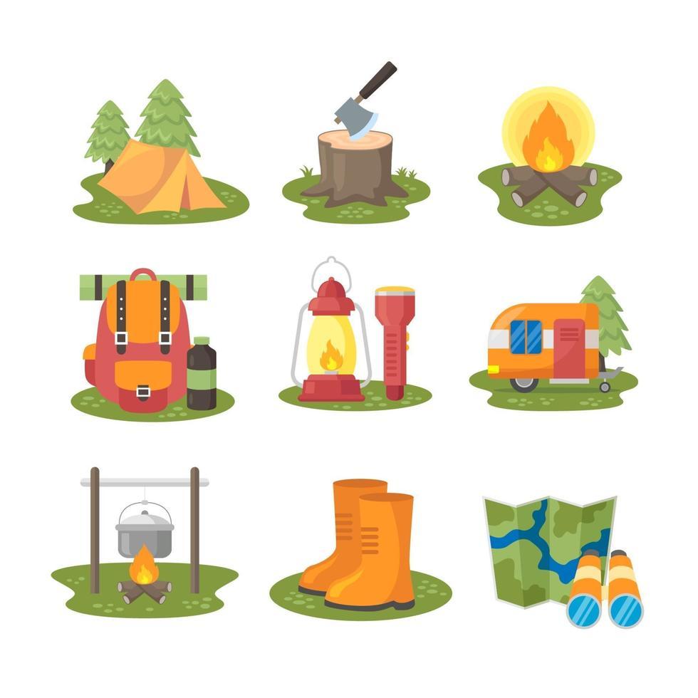 camping ikon samling i platt design vektor