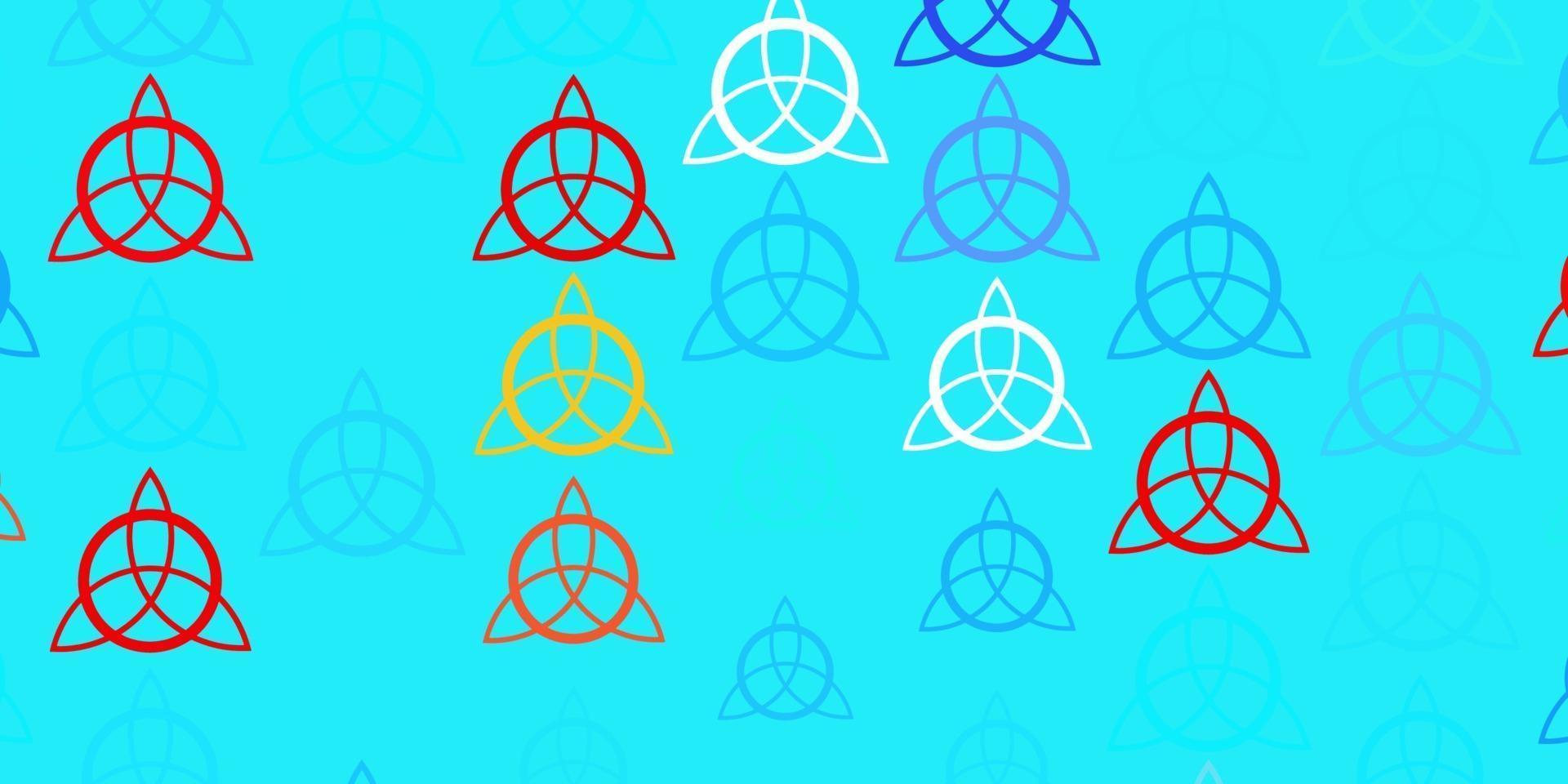 hellblauer, roter Vektorhintergrund mit okkulten Symbolen. vektor