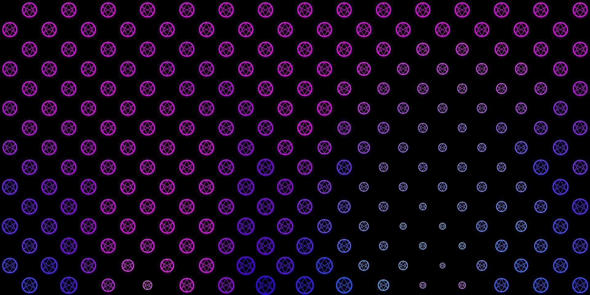 mörkblå, röd vektorbakgrund med mysteriesymboler. vektor