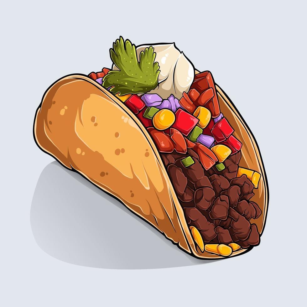 handritad av utsökt mexikansk taco med färgglada skuggor och ljus isolerad på vit bakgrund vektor