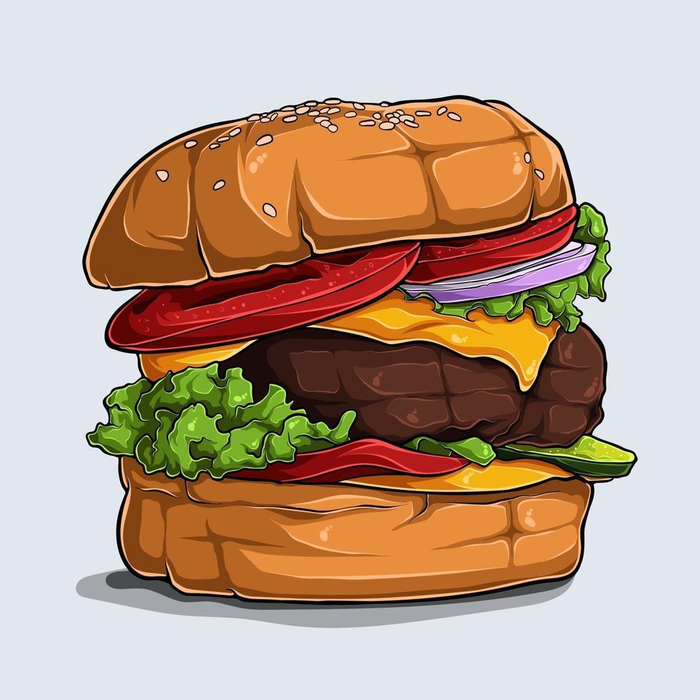 hand dras av utsökt hamburgare med ost nötkött tomatlök och sallad vektor