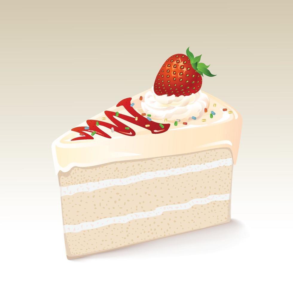 vit chokladkaka med jordgubbe vektor
