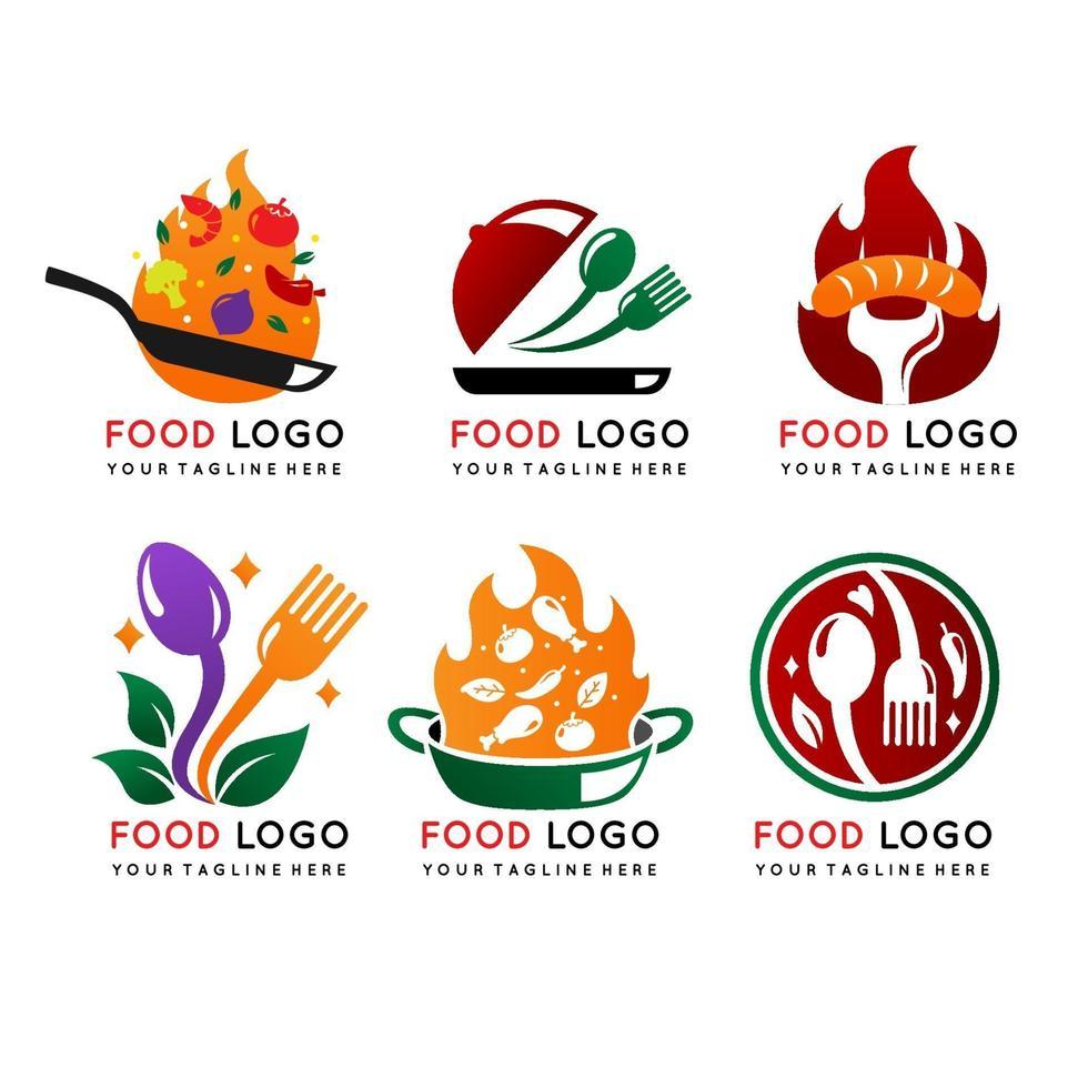 Food-Logo-Kollektion im Farbverlaufsdesign vektor