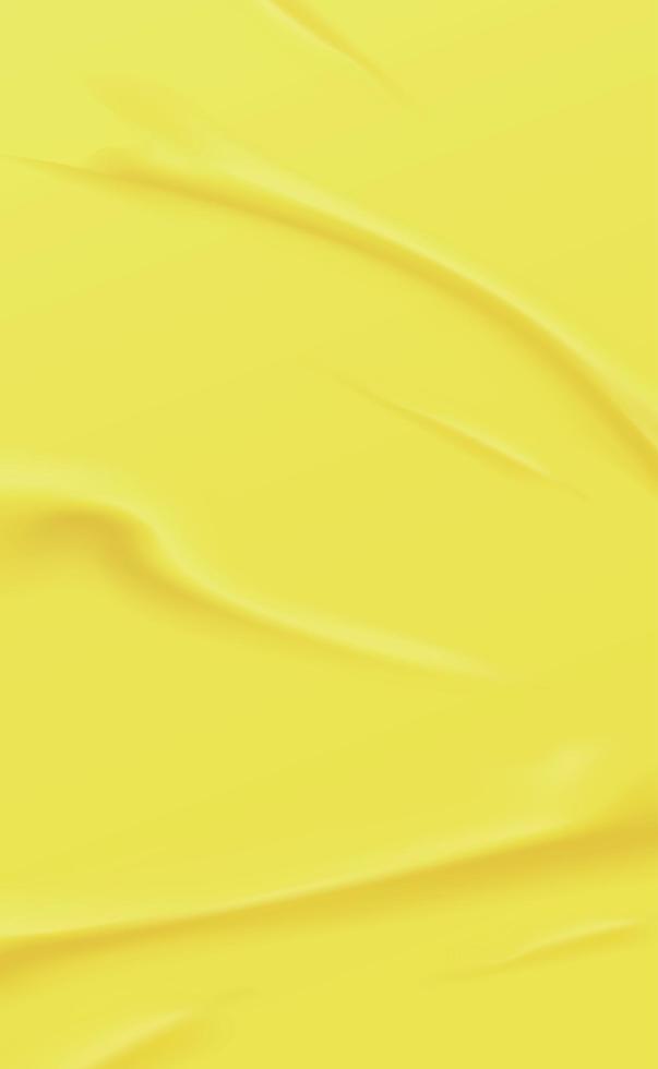 realistische zerknitterte gelbe Hintergrundbeschaffenheit, Falten - Vektor